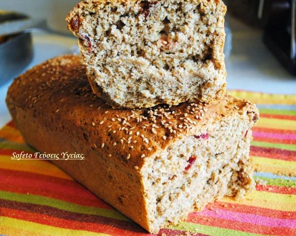 ψωμί με σταφίδες και κραμπερι 4